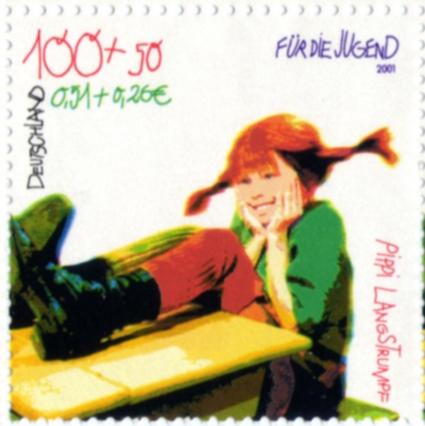 Sonderbriefmarke Deutschland 2001 mit Inger Nilsson als Pippi Langstrumpf