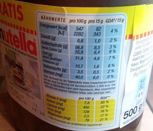 Nutella-Nährwerttabelle; Foto 2011: mimimoma® media