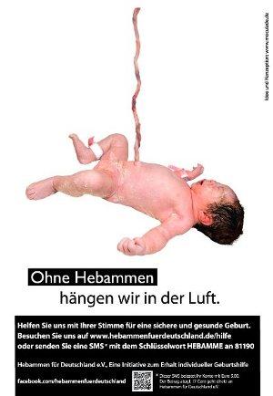 """Plakat """"Ohne Hebammen hängen wir in der Luft""""; Design: moculade design; Umsetzung: rosskamp design"""