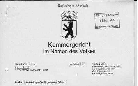 Neuheitseinwand Designrecht Kammergericht Urteil 16.12.2015, Az.: 24 U 121/15 Verfügungsverfahren